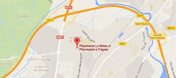 carte-acces-Pharmacie Le Bihen